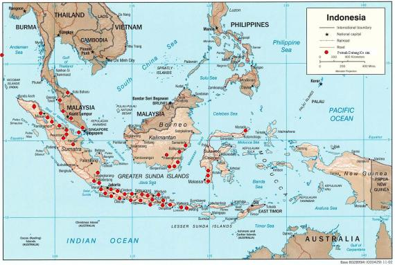 Peta Indonesia dengan Lingkaran Merah